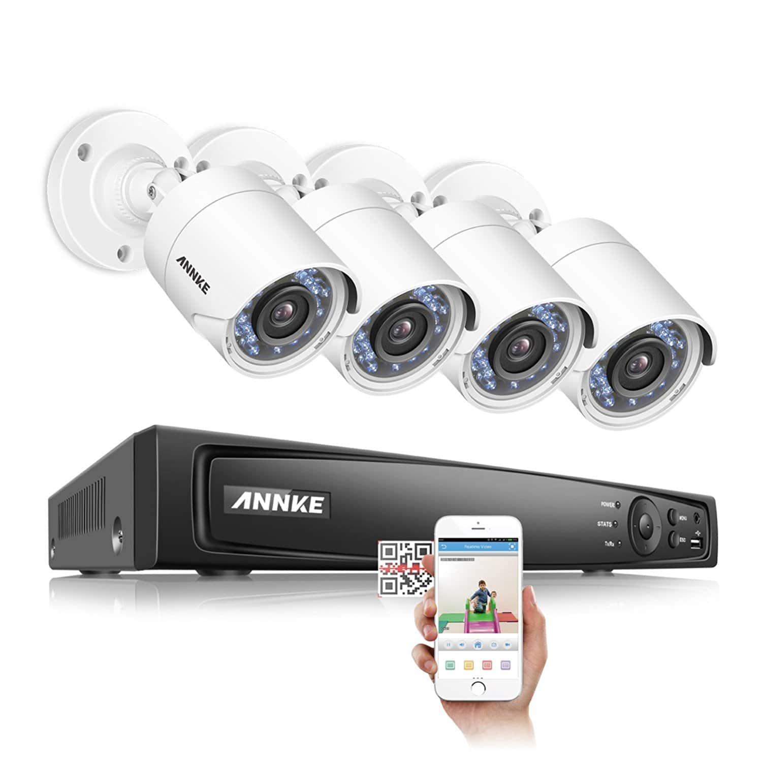 ANNKE 1080P Security Camera System H.264+ 8CH Video DVR and (4) 1920TVL 2.0MP Weatherproof Cameras $149.39