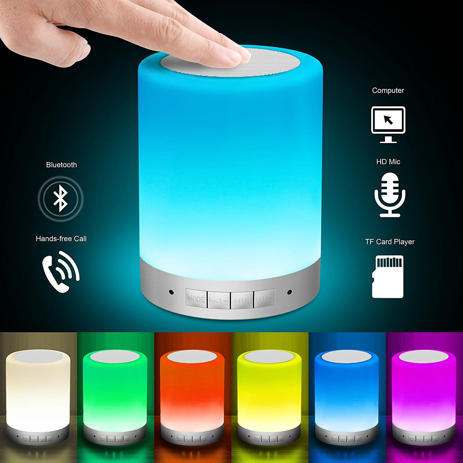 Touch Control Table Lamp with Wireless Bluetooth Speaker $13.57