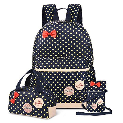 Vbiger 3 in 1 School Bag, Waterproof Nylon Backpack, Lunch Bag, Pencil Case $16.99