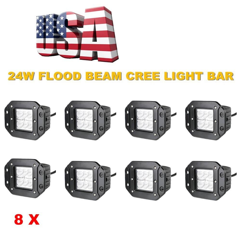 Topcarlight 4 Pairs, 8 Pcs 24w Flood Beam LED Work Light with Mounting Brackets for Off Road 4wd, Boat, UTE, Driving, ATV, Car, Truck, Driving Lamp $46.99