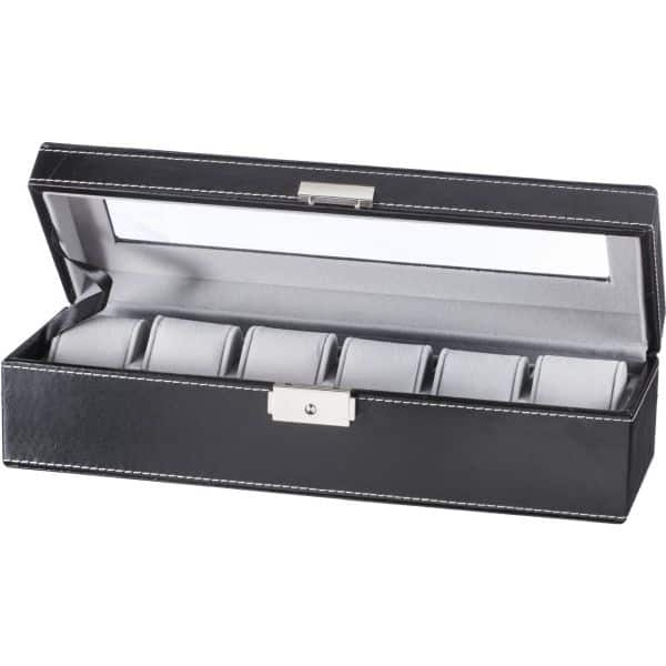 Walmart Store Pickup Discount: GGI International Watch Box Black Leather (PU) Display Glass Top Jewelry Case Organizer (Black, 6) for $11.56 plus tax