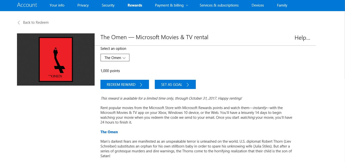 Microsoft Rewards Movie Rentals for 1,000 points ($1) - YMMV