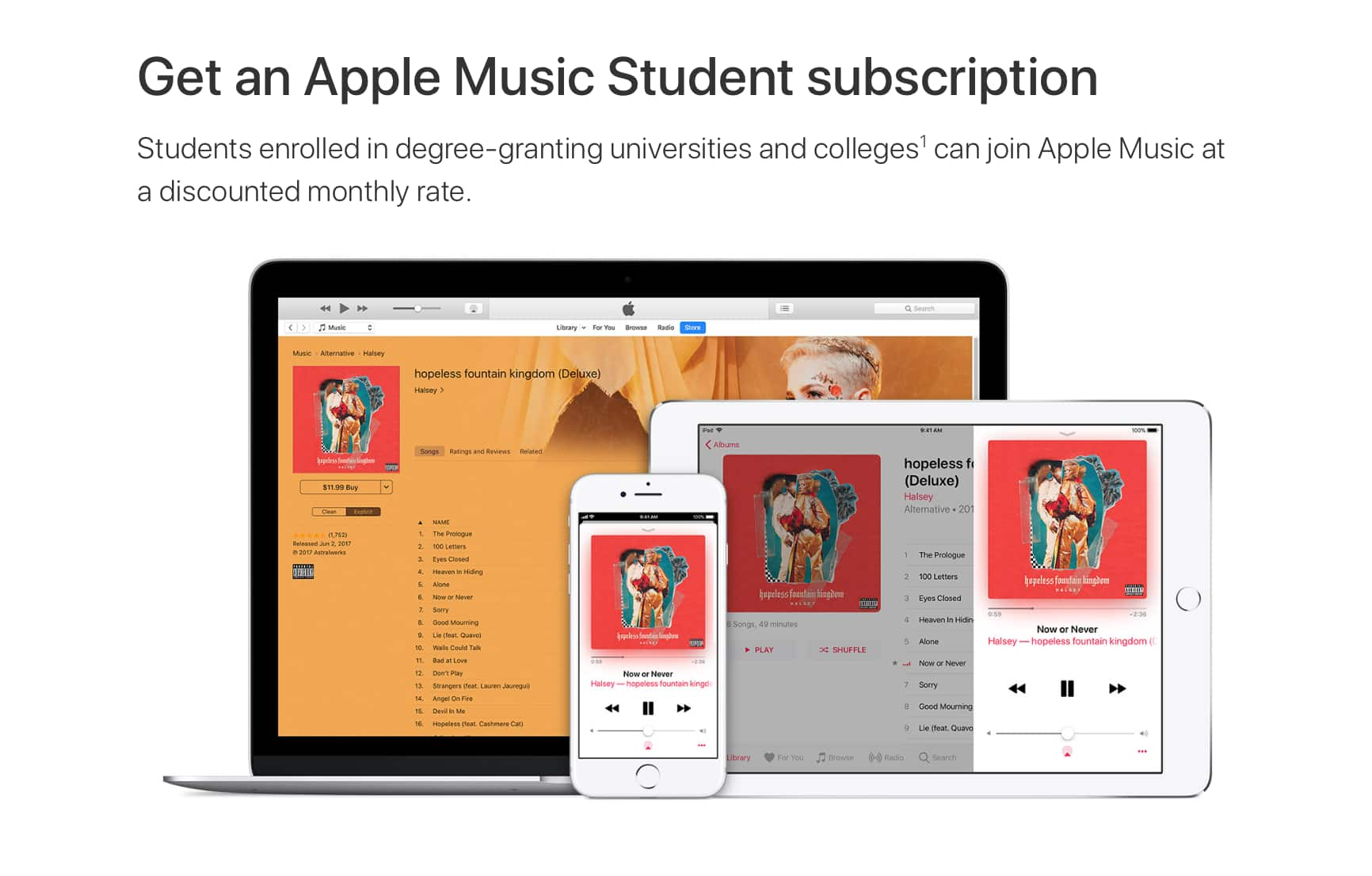 Those with EDU/College Email: Apple Music for $4.99 a month up to 48 months