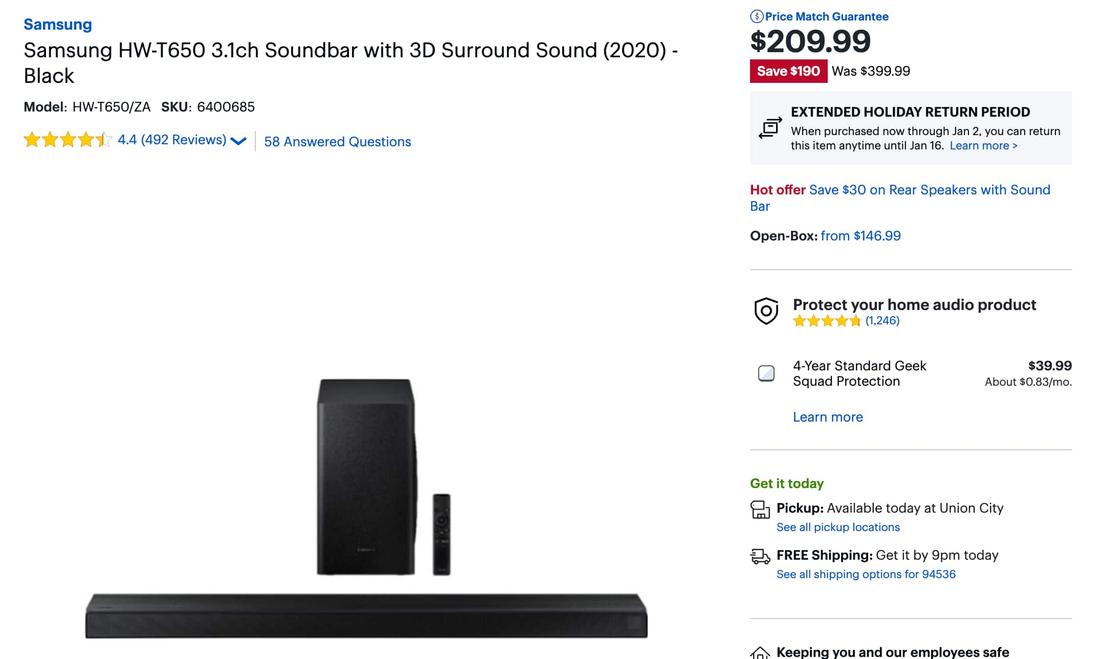 Samsung HW-T650 3.1ch Soundbar with 3D Surround Sound (2020)- 209.99 $209.99