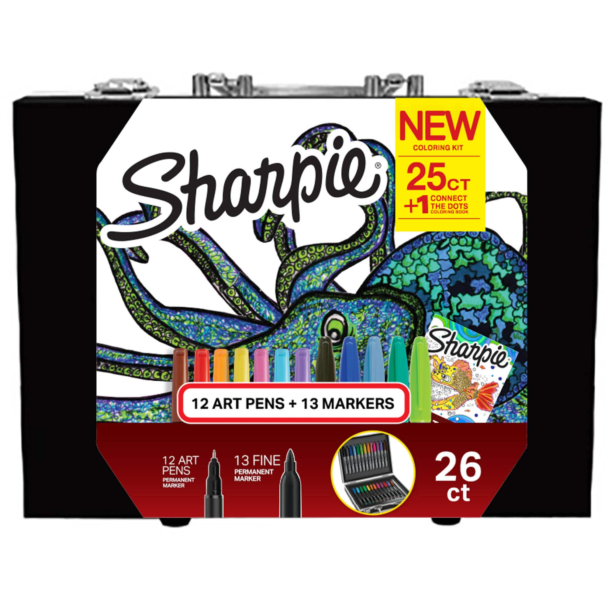 Sharpie Coloring Kit with Permanent Markers, Art Pens and Coloring Booklet, Hard Case, 26 Count $4.5