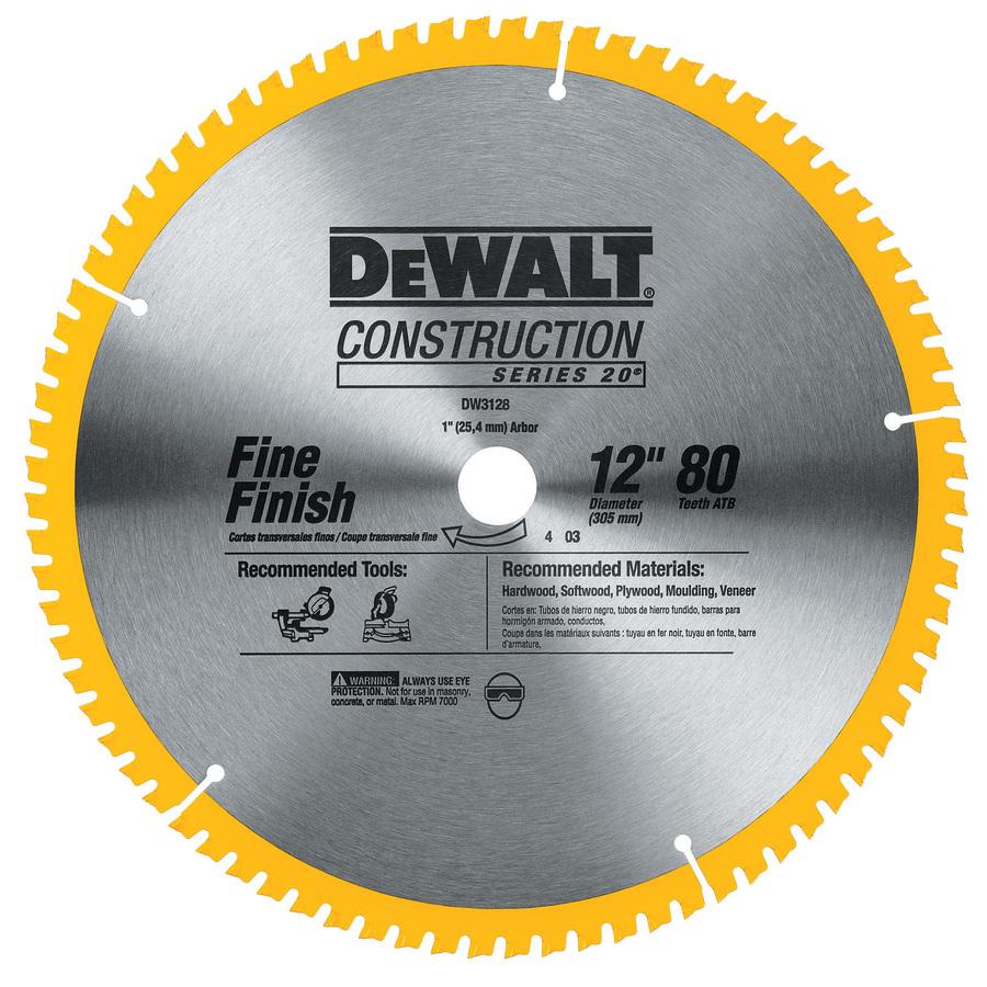 DEWALT DW3128 Series 20 12-Inch 80 Tooth ATB Thin Kerf Crosscutting Miter Saw Blade with 1-Inch Arbor $29.99