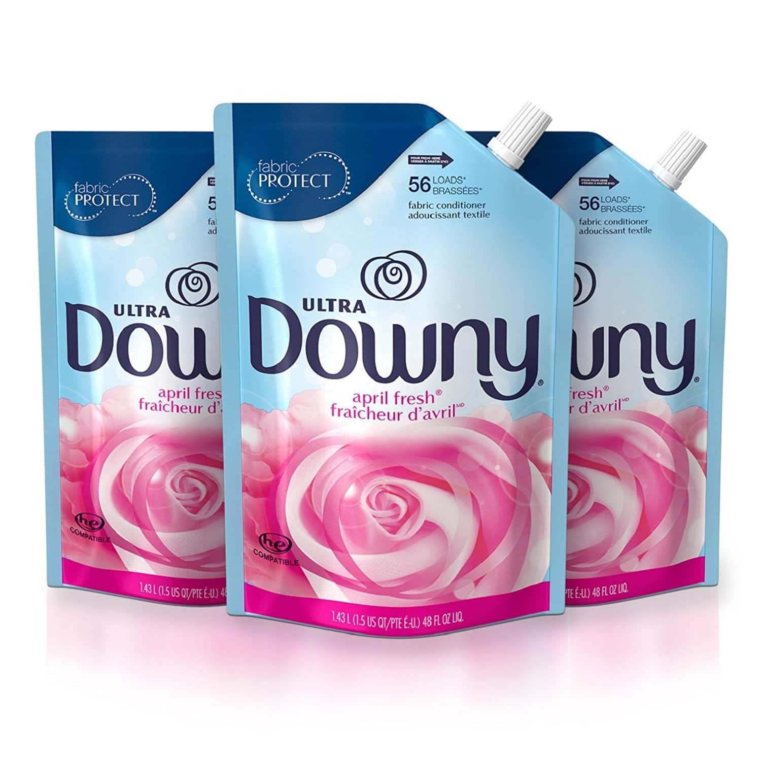 Downy Ultra April Fresh Liquid Fabric Conditioner Smart Pouch, Fabric Softener - 48 Oz. Pouches, 3 Pack $10.71 (after tax, $9.89 before)
