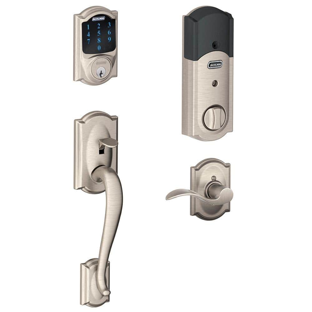 Schlage Camelot Satin Nickel Connect Z-Wave Plus Smart Deadbolt and Camelot Handleset with Accent Lever with Camelot Trim- $179.99 @ Home Depot - $179.99