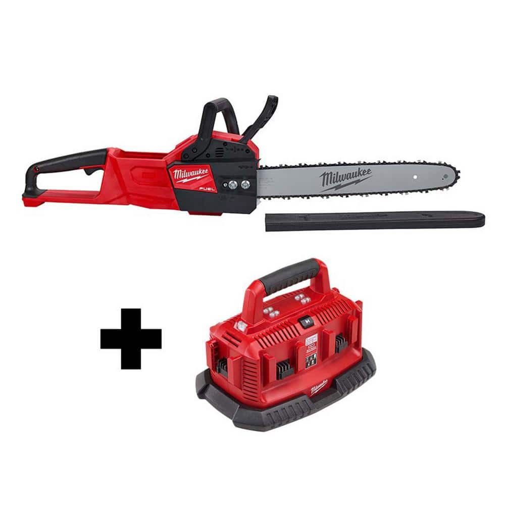 M18 FUEL 18-Volt Lithium-Ion Brushless Cordless 16 in. Chainsaw with M18 6-Port Sequential Battery Charger $300