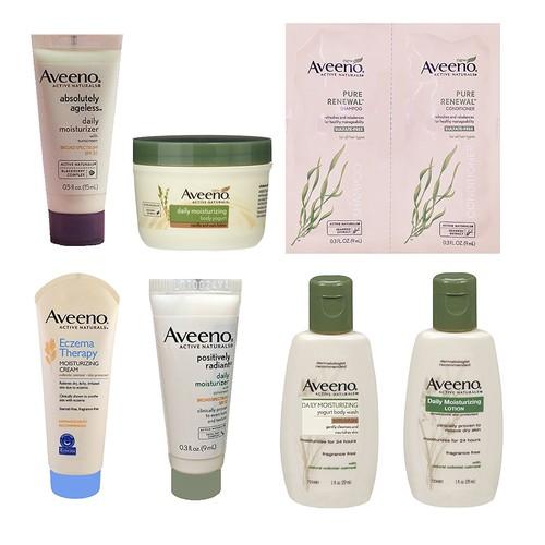 Buy Aveeno Sample Box, Use Credits to Buy 2 Aveeno Products - Prime Members (Sample box plus two Aveeno lotions 18 fl oz)
