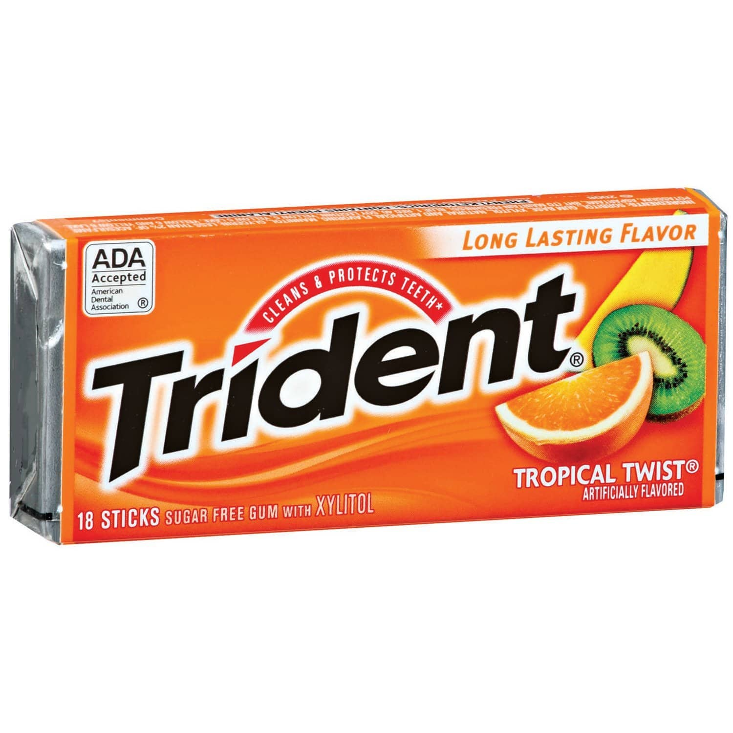 Trident Gum, Tropical Twist, 18-count (Pack of 12) $3.84 + Free S/H @ Amazon