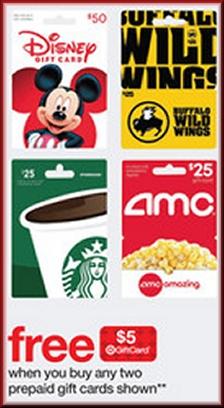 Buy two $25 Disney GCs get $5 Target GC; Buy two $15 Starbucks (generic, not holiday) GCs get $5 Target GC @ Target B&M