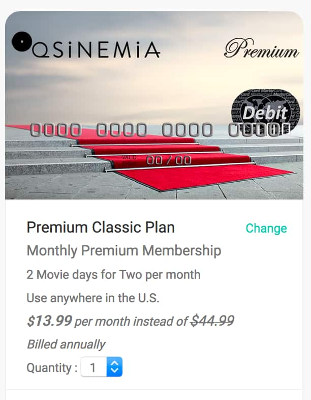 Sinemia - New Classic Plan - TWO 2D Tickets per month for $6.99