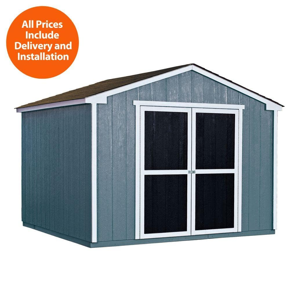 Installed Princeton 10 ft. x 10 ft. Wood Storage Shed with Driftwood Shingles - Handy Home Products -$1619.10+tax