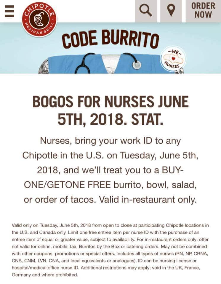 BOGO at Chipotle Tues June 5th - nurses only