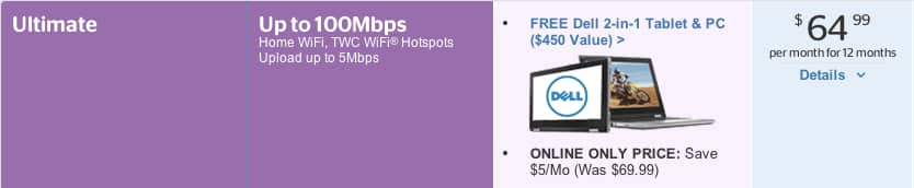 Time Warner ( TWC) - Free Dell 2 in 1 tablet / laptop with Ultimate internet - $ 64.99 per month