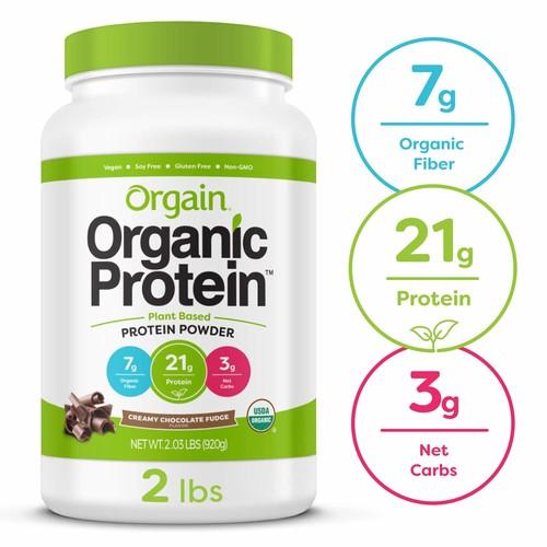 Orgain Organic Plant Based Protein Powder, Creamy Chocolate Fudge, 2.03 Pound $21.09