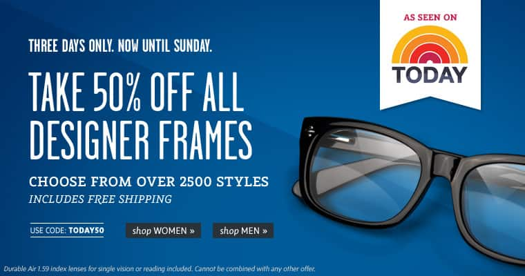 Coastal 50% off Designer Glasses Frames + free basic prescription lens
