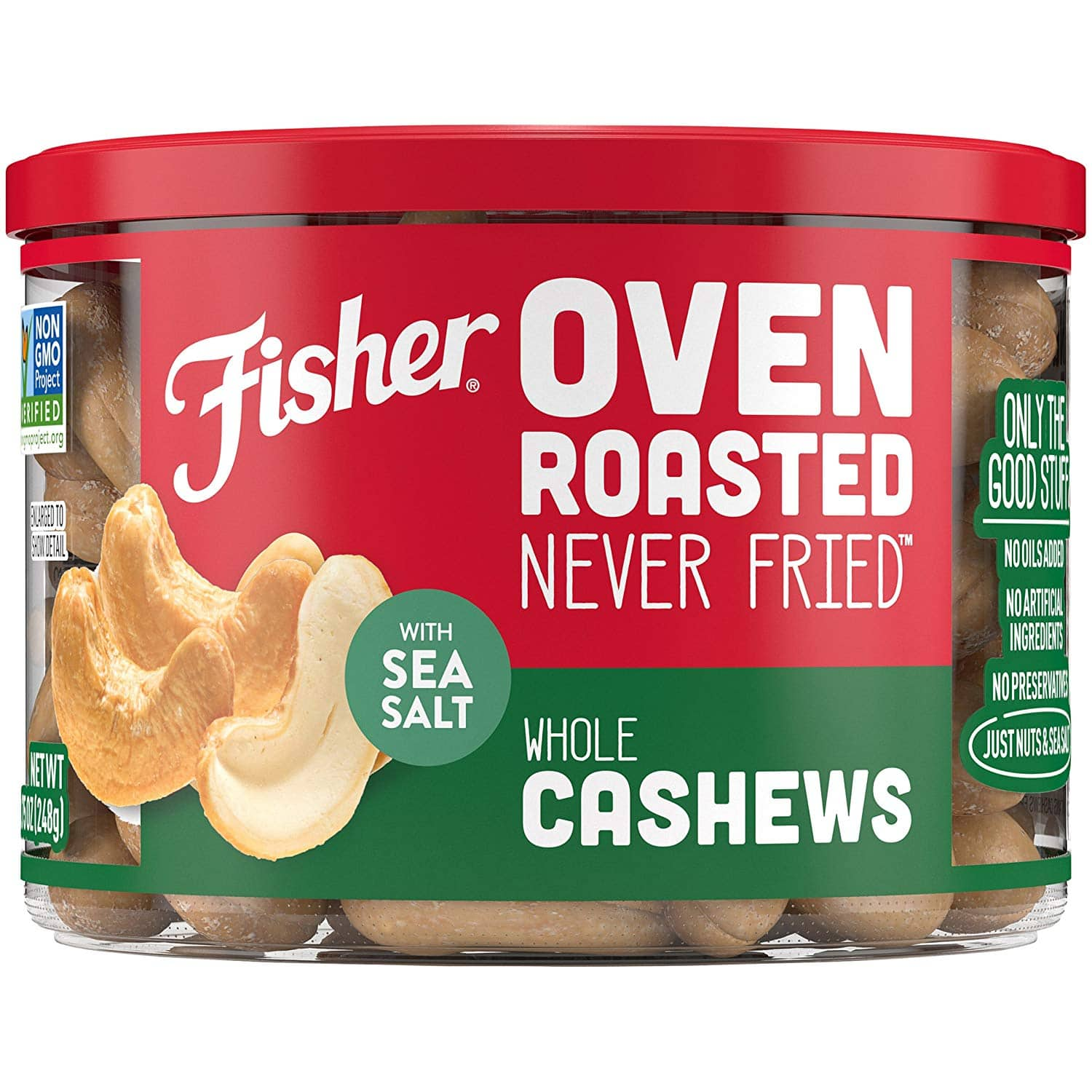 Save 34% on FISHER Oven Roasted Never Fried, Whole Cashews, Made with Sea Salt, 8.75 oz! $9.6