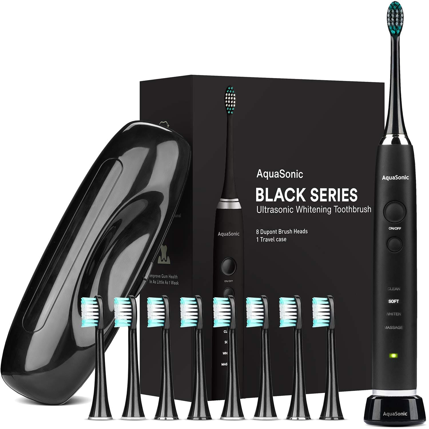 AquaSonic Black Series Ultra Whitening Toothbrush - 8 DuPont Brush Heads & Travel Case Included - $25.15 FS