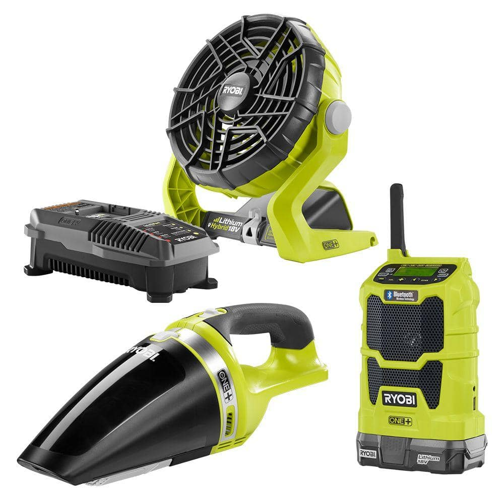 Ryobi ONE+ 18-Volt Radio + Fan +  Vacuum + Battery + Charger Kit $99 (Save $64)