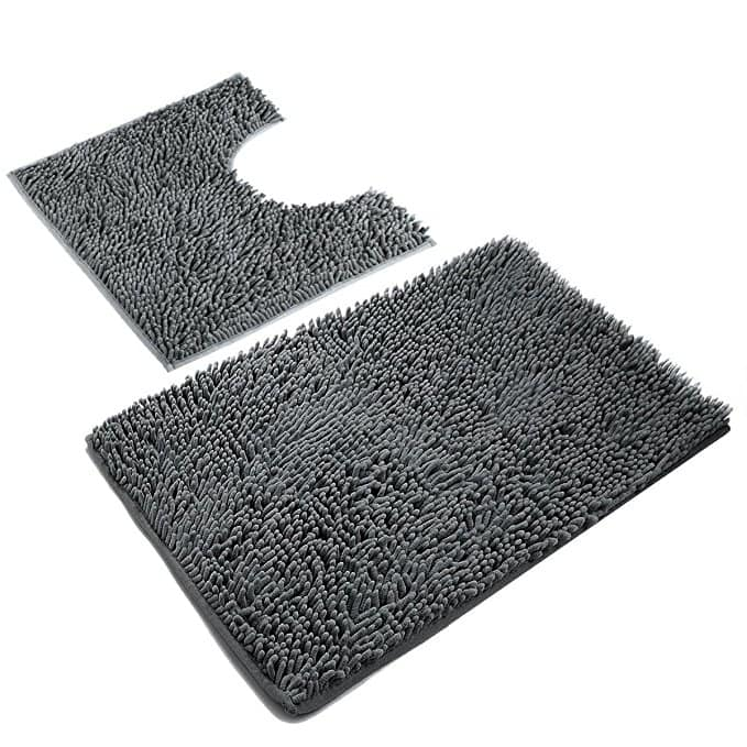 VDOMUS Microfiber Bathroom Contour Rugs Combo, Set of 2 Soft Shaggy Non Slip Bath Shower Mat and U-shaped Toilet Floor Rug for $16.11 + FS w/ Prime