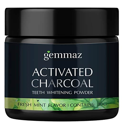 Gemmaz Charcoal Teeth Whitening Powder with Natural Freshmint Flavor for $9.99 at Amazon