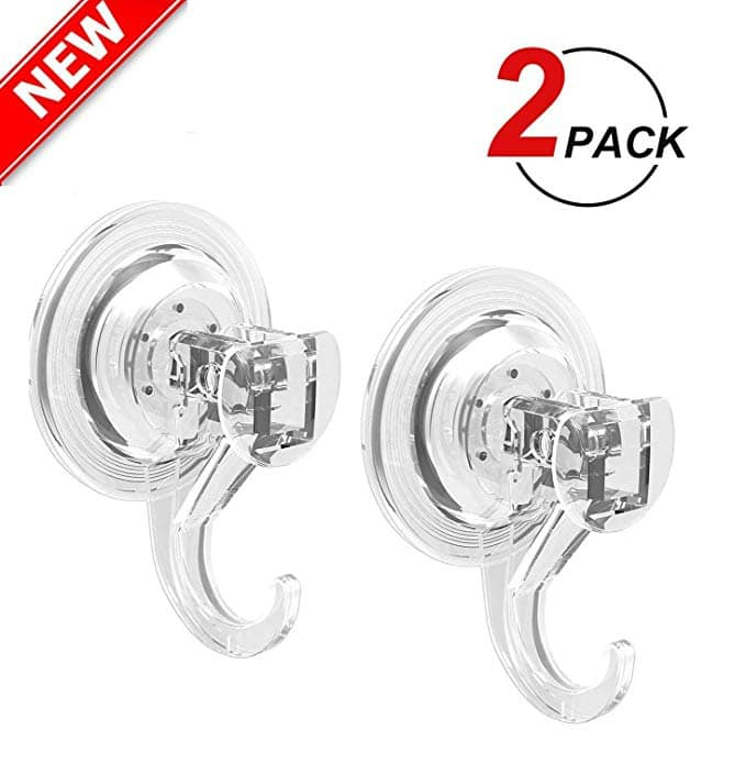 2 Pack Heavy Duty Suction Cup Hooks For Towel Bathroom Windows 593