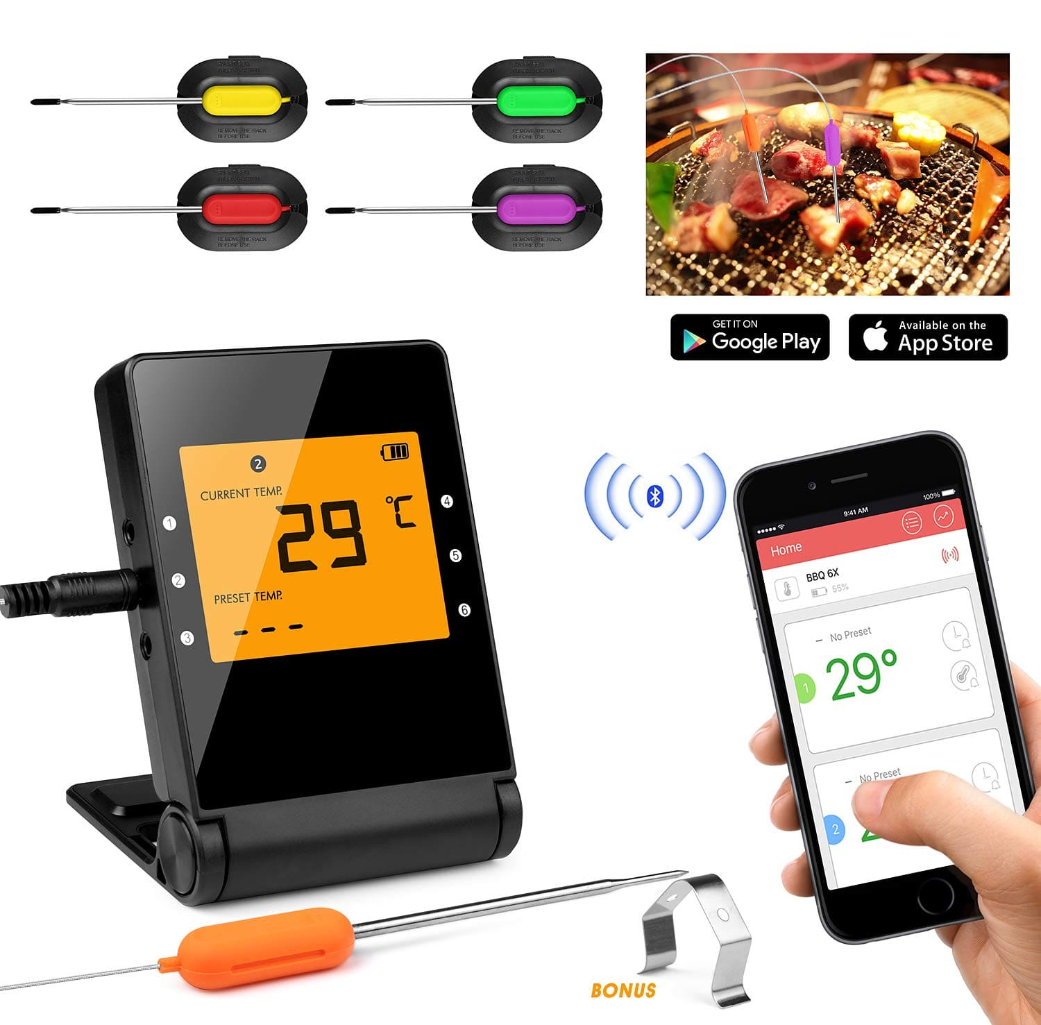 Bluetooth Smartphone Meat Thermometer with 4 Stainless Steel Probes $31.49 + Free Shipping