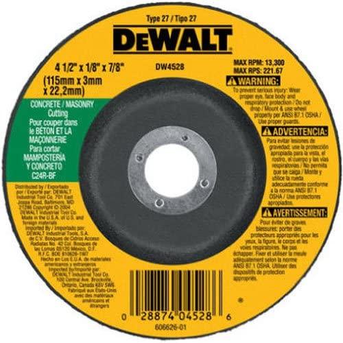 """DEWALT DW4528 4-1/2"""" x 1/8"""" x 7/8"""" Concrete/Masonry Cutting Wheel $2.30 + FSSS"""
