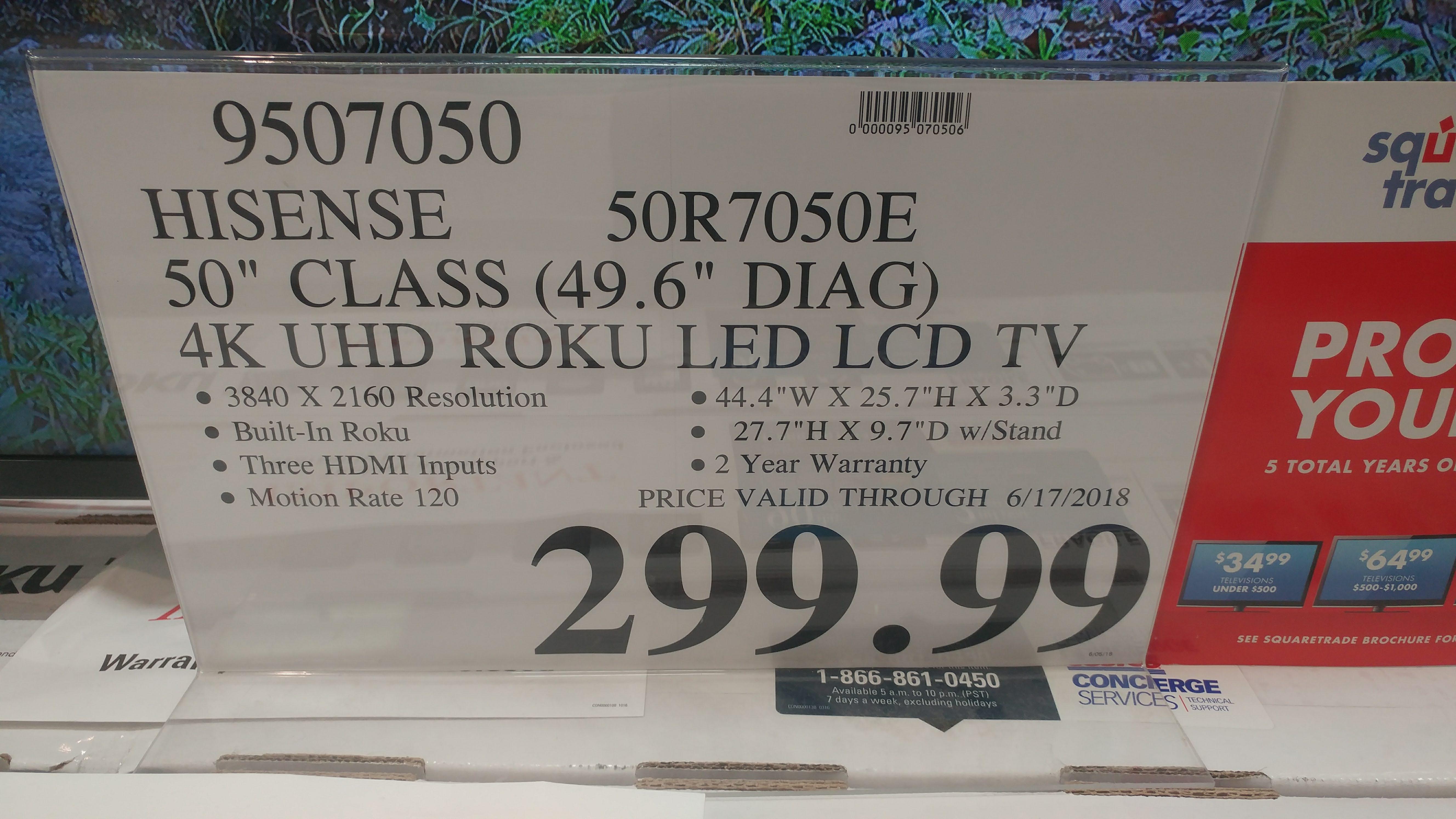 Hisense 50-inch R7E (50R7050E) 4K UHD HDR Roku TV - $299
