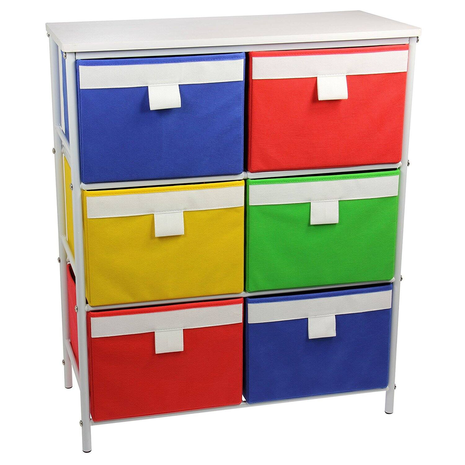$26.58 Amazon: Metal Storage Unit with 3 Shelves and 6 Removable Multi-Colored Bins