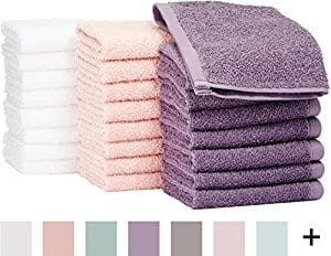 Pack of 24 AmazonBasics Cotton Washcloth,  Multi-color (Petal Pink, Lavender, White) - $12.28 FS with Prime.