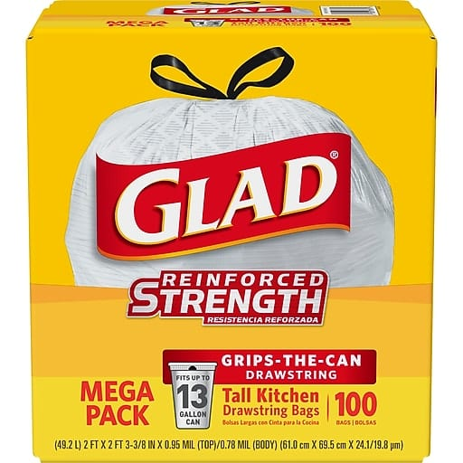 Glad Tall Drawstring Trash Bags (100-Count) for $12.99