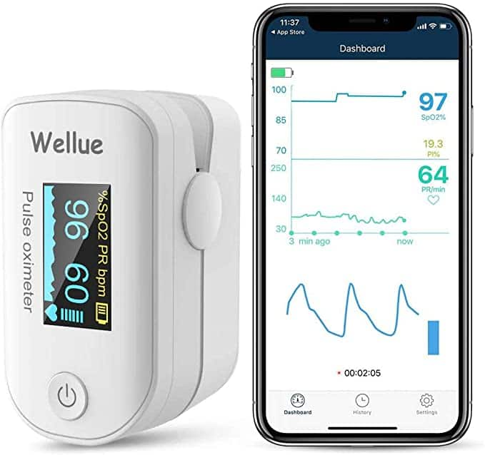 Wellue Bluetooth Pulse Oximeter Fingertip Blood Oxygen Saturation Monitor $23.99 + fs