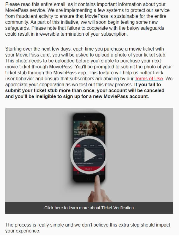 Moviepass: Important Updates from MoviePass (Ticket verification required YMMV)