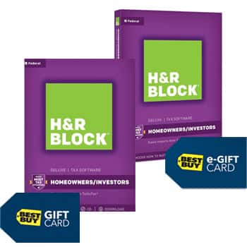 H&R Block Tax Software: $15 off retail price plus Free $10 Best Buy Gift Card or E-Gift Card