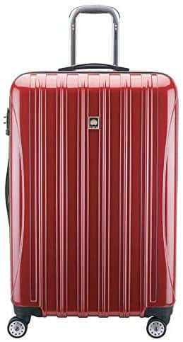 Delsey 29 inch polycarbonate helium aero hard side spinner checked luggage + FS $42