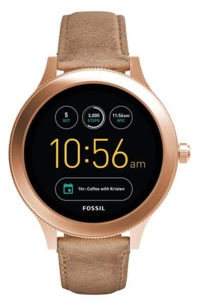 FOSSIL Q Venture Gen 3 Leather Strap Smartwatch, 42mm w/ Chase Slate Credit Card