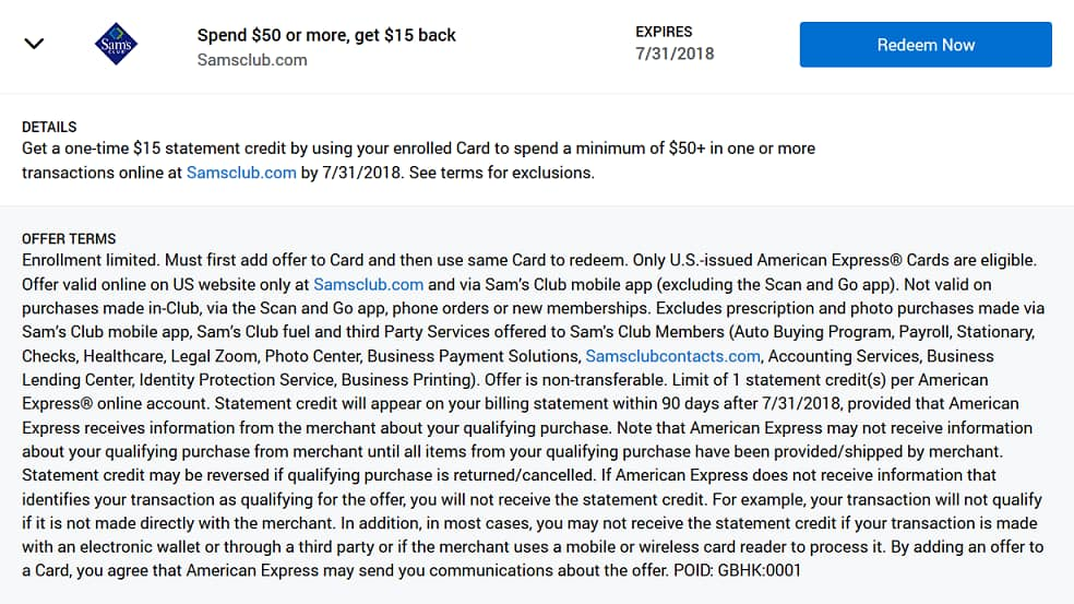 AmEx Offer: Spend $50 on samsclub.com & receive a $15 statement credit (YMMV)