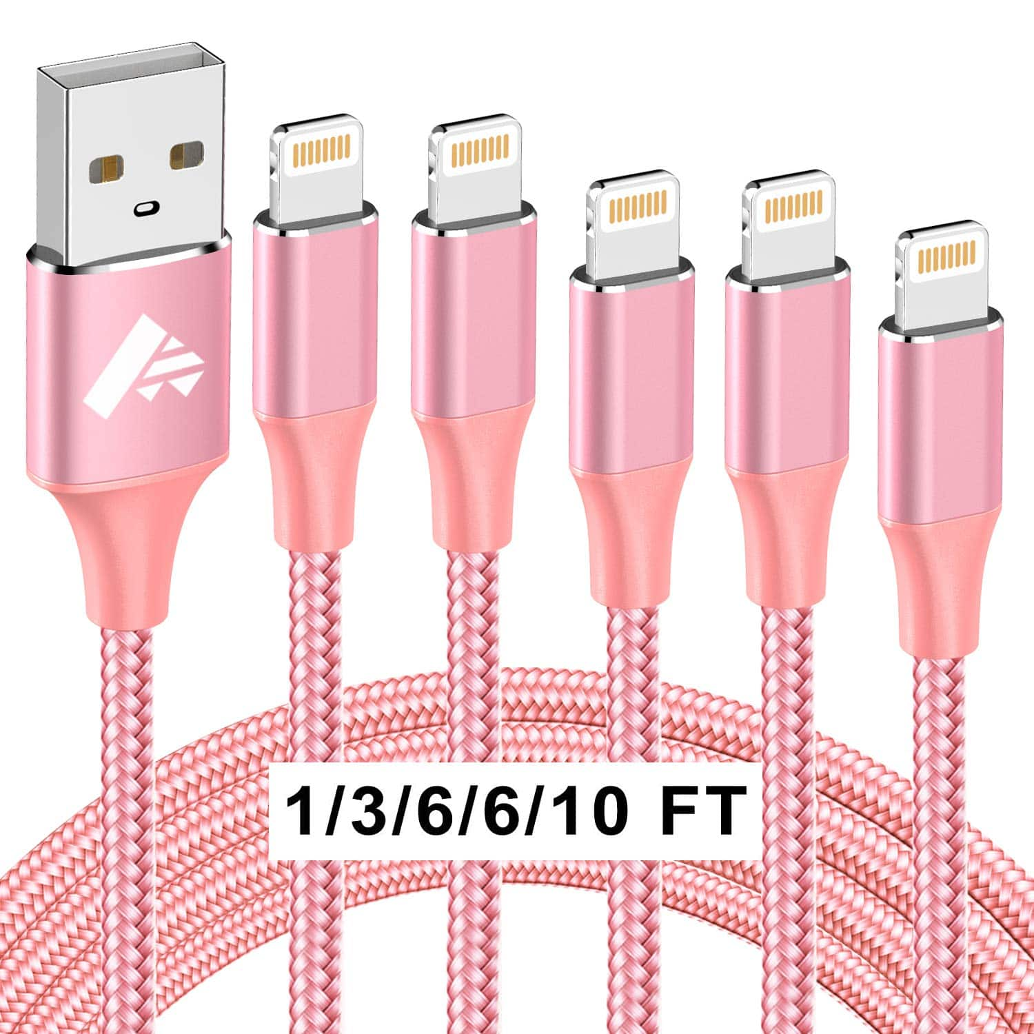iPhone Charger Cable 5 Pack, MFi Certified YMMV $2.99