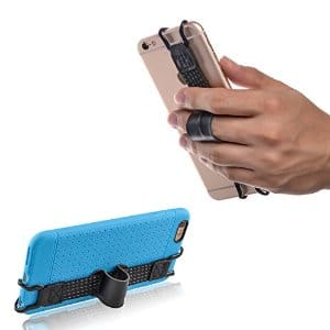 TFY Security Hand Strap with Leather Belt Holder Stand for iPhone 5(s) - 6 / 6S (Plus) and More | $5.50 Amazon w/ Prime