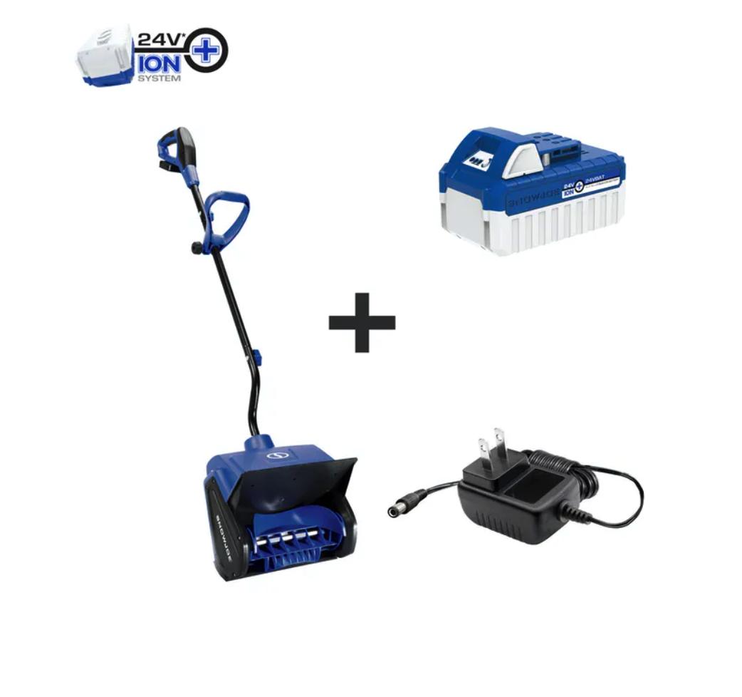 $38+ Snow Joe 24V-SS13 24-Volt iON+ 13-Inch 4-Ah Cordless Snow Shovel, Kit (w/4-Ah Battery + Quick Charger) $38