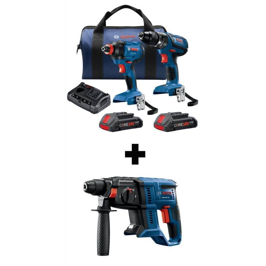 Bosch 18v Compact Hammer Drill Impact Wrench Driver Rotary 229 Lowes