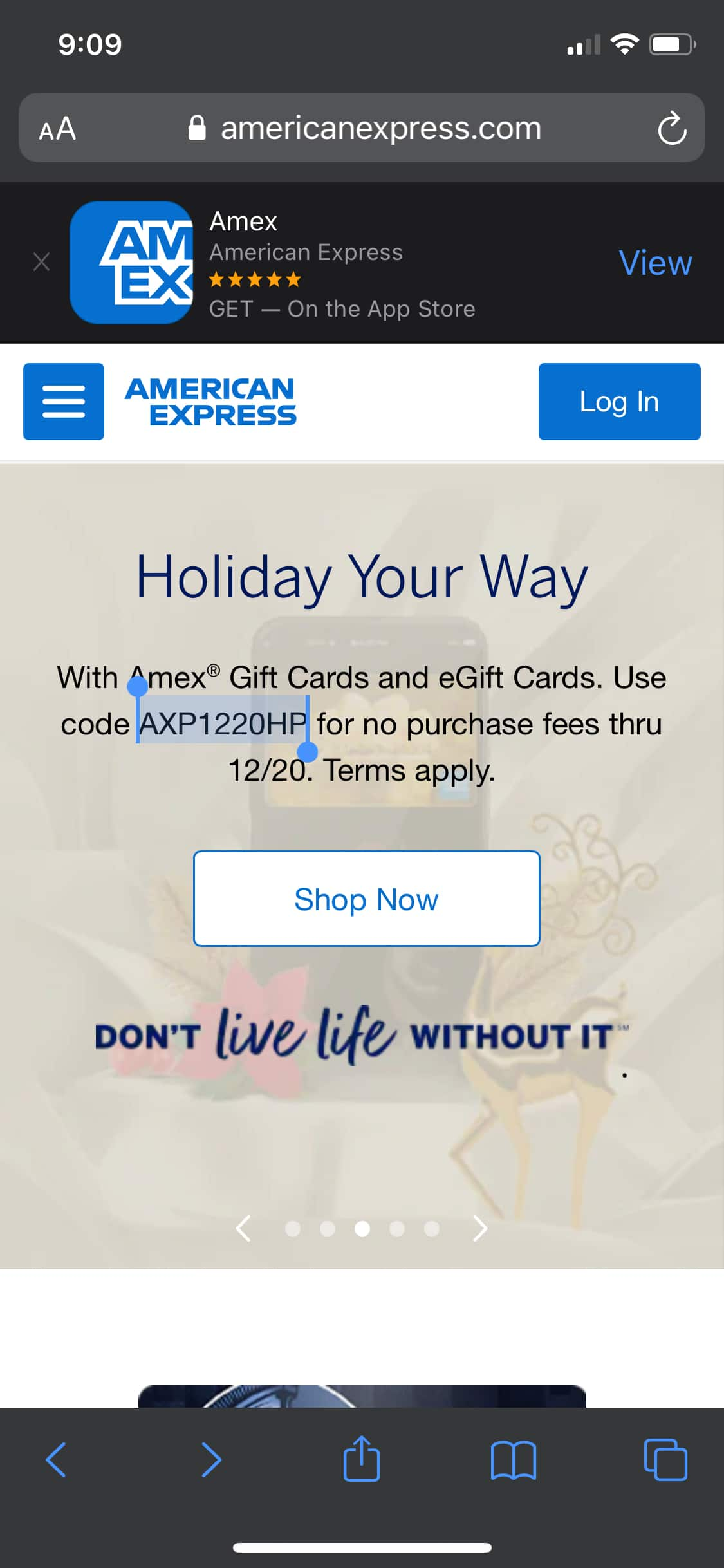 No fee AMEX gift card with code