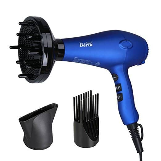 BERTA 1875W Ceramic Ionic Hair Dryer 2 Speeds & 3 Temperatures Settings  & 3 Professional Attachments $26.59 A/C + Free Amazon Prime shipping