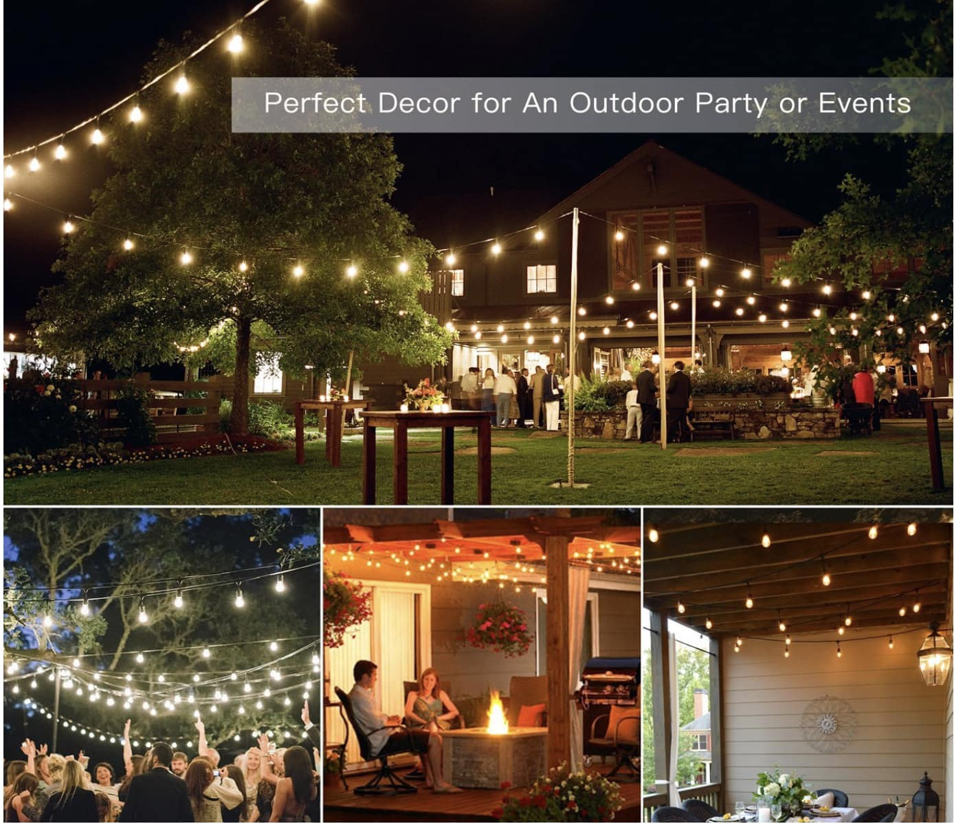 SHINE 48ft Halogen ($29.99 AC) or LED ($41.99 AC) Vintage Style Outdoor String Lights @ Amazon