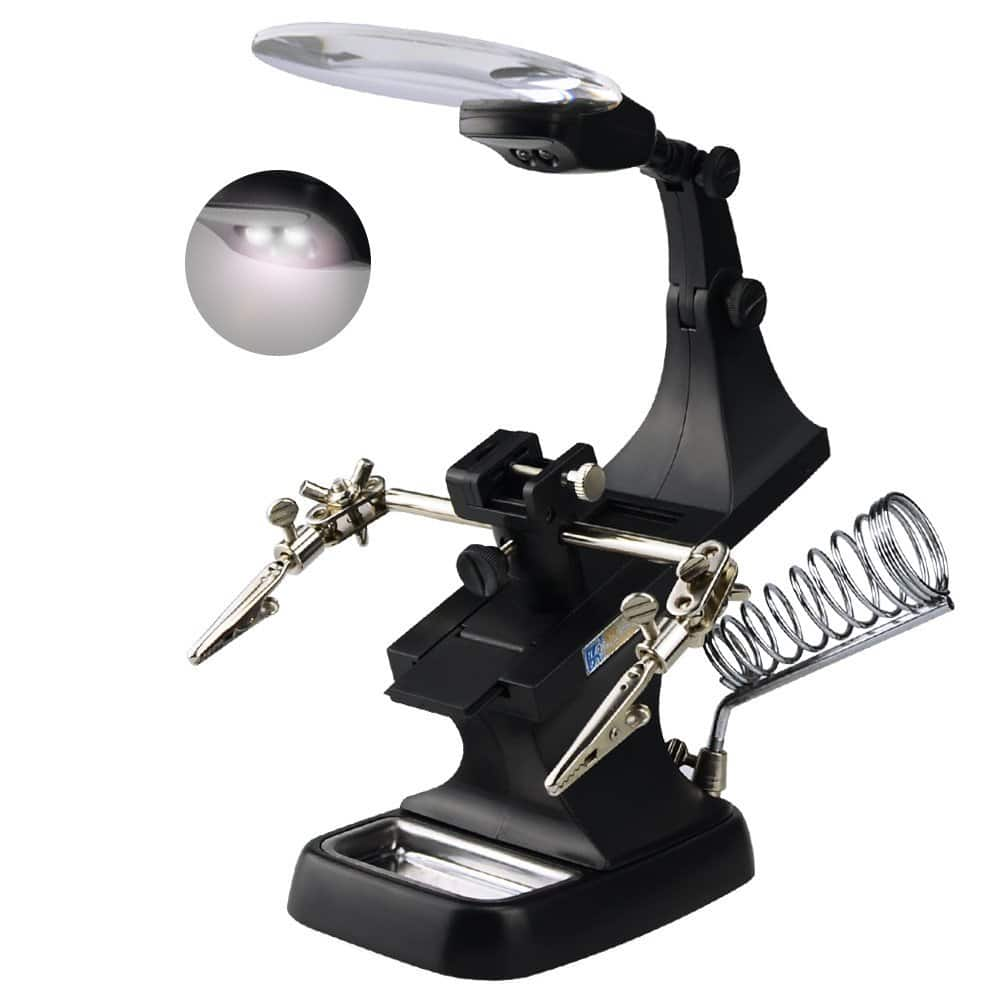 Intsun LED Helping Hands Magnifier Soldering Station 3X 4.5X Magnifying Glass with Clamp $6.39