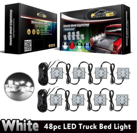 Partsam 8 Pods Waterproof LED Truck Bed Light Strips White Lighting Kit for $16.55 @Amazon