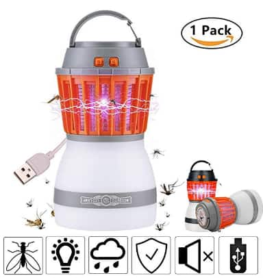 XREXS 2-in-1 Outdoor Mosquito Zapper & Camping Lamp with USB Charging for $10.99 @Amazon